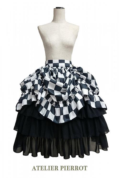 ATELIER PIERROT Checkered Bustle Skirt