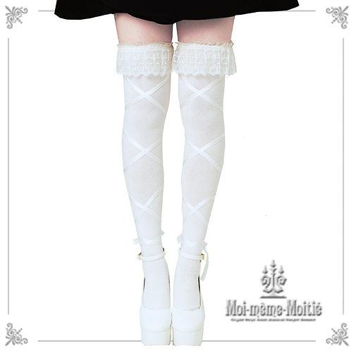 Moi-même-Moitié Lace Ribbon Overknee Socks