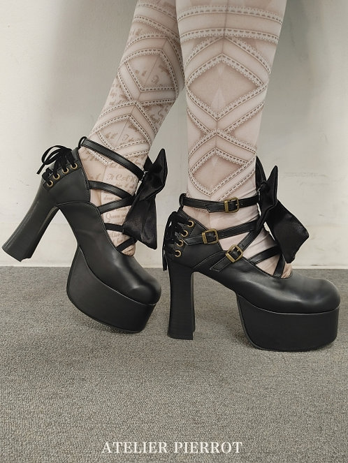 ATELIER PIERROT Lace-up Platform Pumps (with removable ribbon brooch)