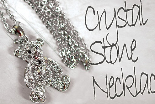 KINGLYMASK Clear Bear Crystal Stone Necklace