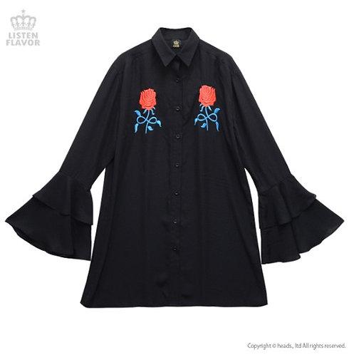 LISTEN FLAVOR SINFUL ROSE Frilled Sleeve Chiffon Shirt