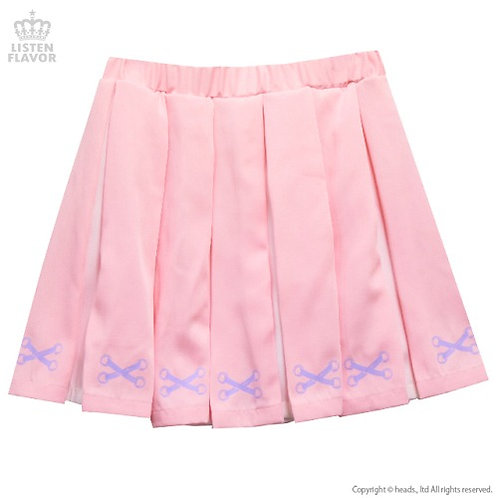 LISTEN FLAVOR Lace-up Print 2-Tone Pleated Skirt