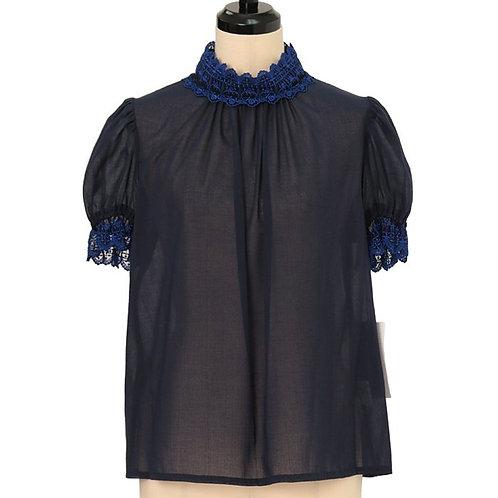 Moi-même-Moitié Cross Arch High Neck Short-sleeved Blouse