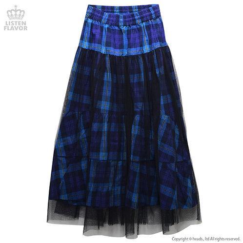 LISTEN FLAVOR See-through Layered Check Maxi Skirt