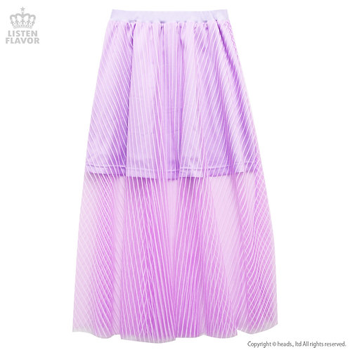 LISTEN FLAVOR Stripe Tulle Layered See-through Skirt