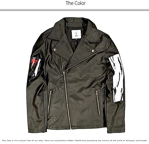 KINGLYMASK Rose & Paint Patch Rider Jacket