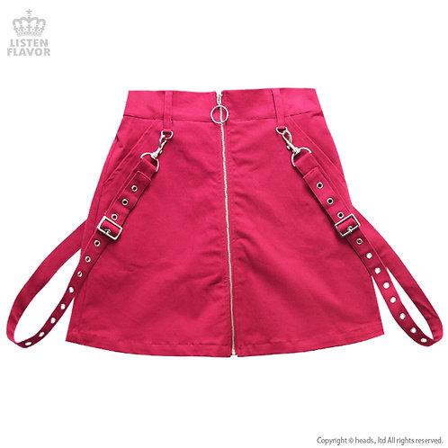 LISTEN FLAVOR Center Zip Skirt with Suspenders