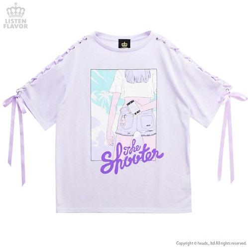 LISTEN FLAVOR SHOOTING GIRL Lace-up Sleeve Shirt
