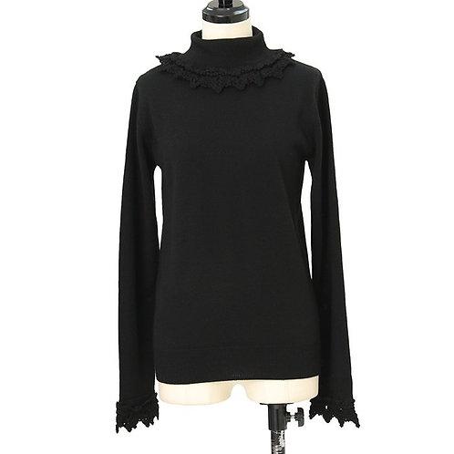 Moi-même-Moitié Lace Crochet High Neck Knit Top