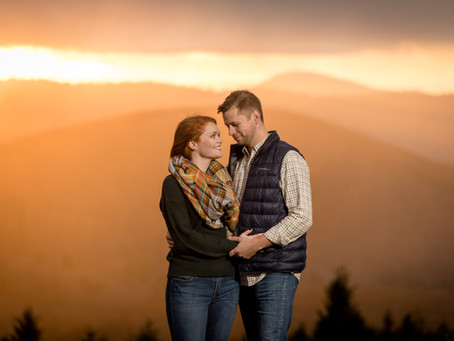 Sunset Engagement Session at Black Balsam: C + K