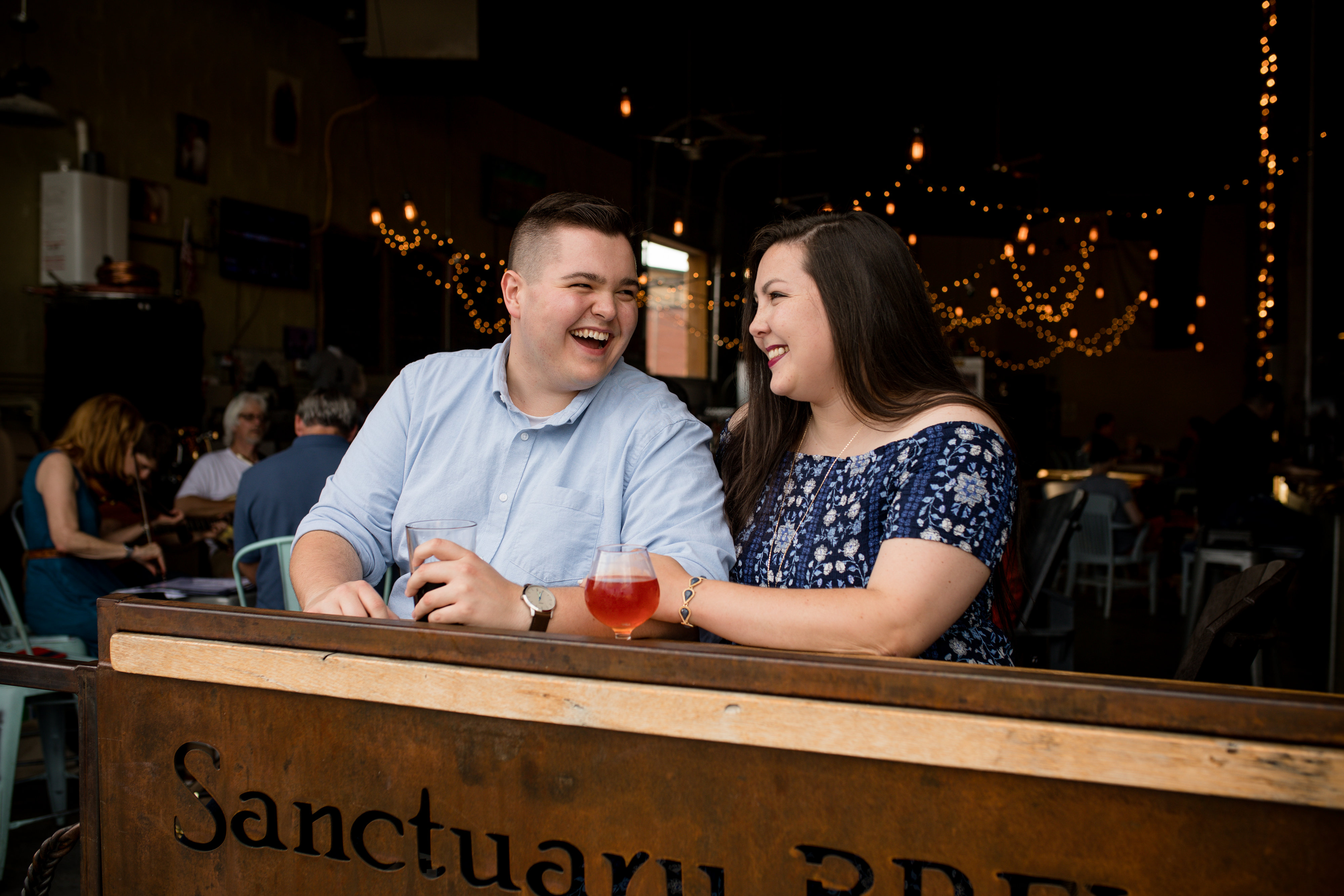 asheville brewery engagement photos