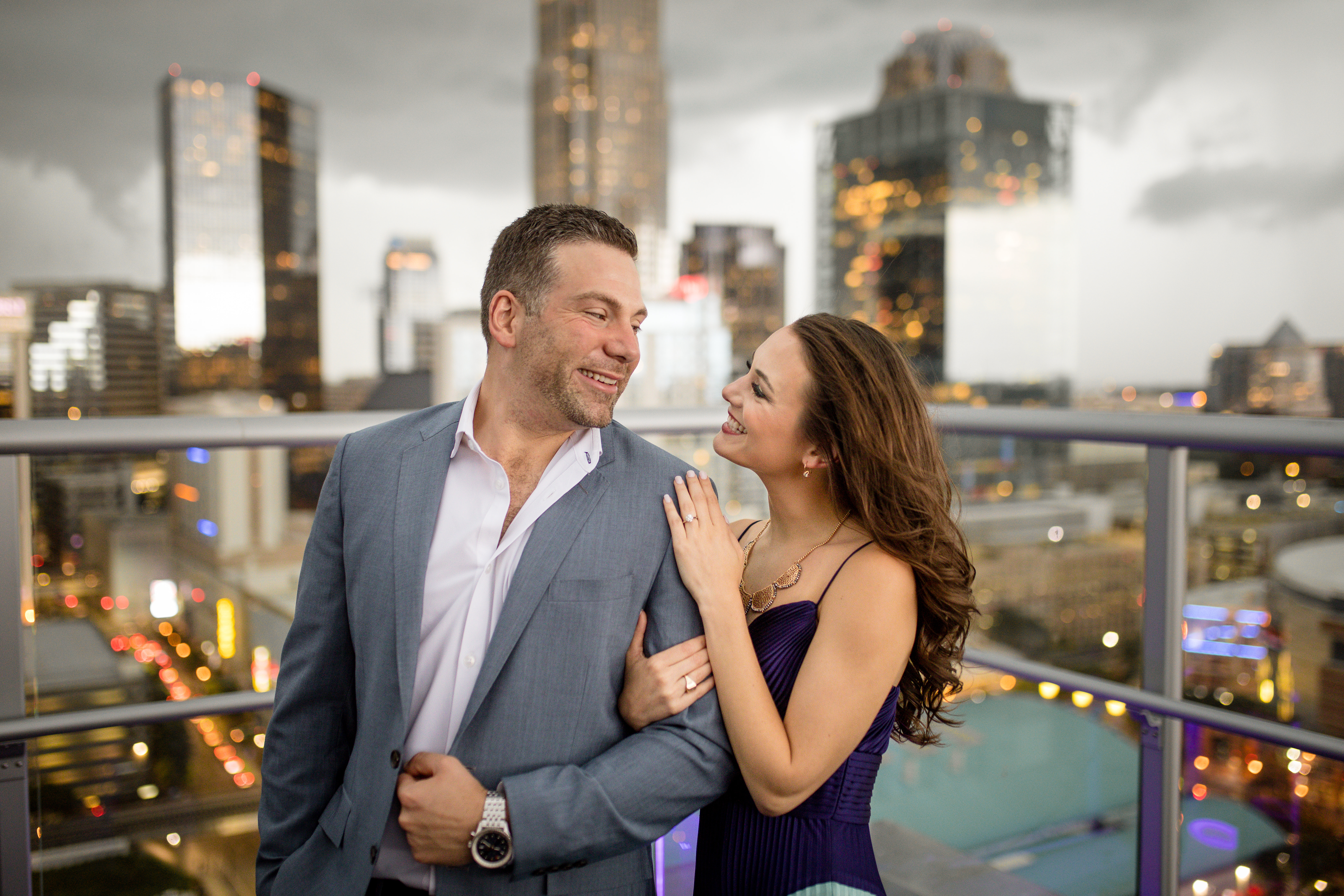 Charlotte rooftop engagement photos