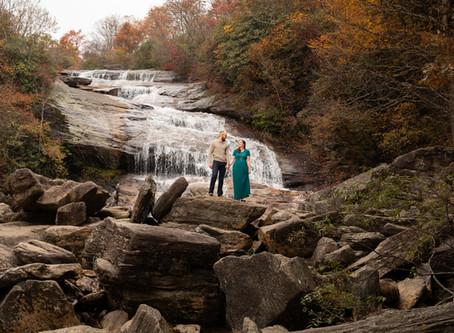 Asheville Waterfall Engagement:  J + J