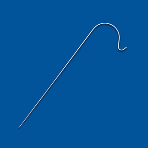 Stabförmiges Drahtbiegeteil mit zweifach gerundetem Ende, geeignet als Halterung