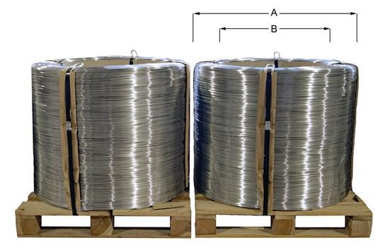 Aufmachung Coils mit Pappkern auf Palett