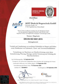 ISO 9001 certificate of the company AGST