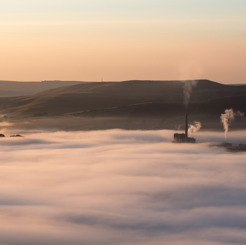 Cement works in the mist