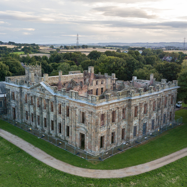 Drone shot of Scarsdale Hall