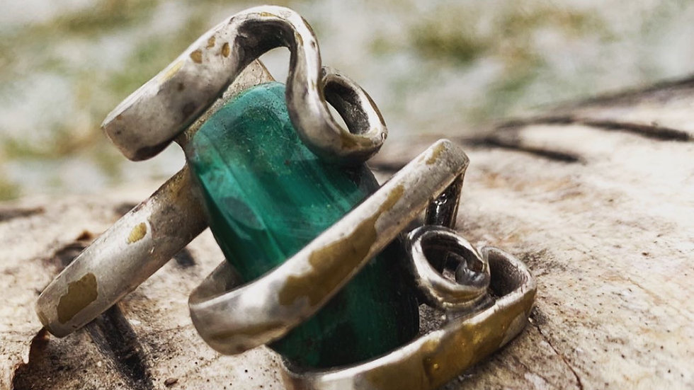 Malachite fork ring