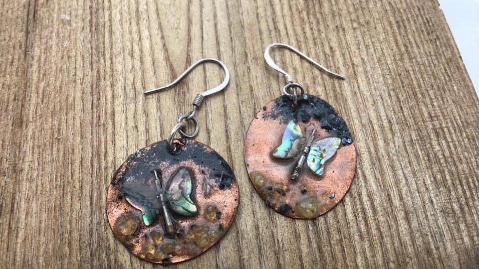 Abalone copper earrings
