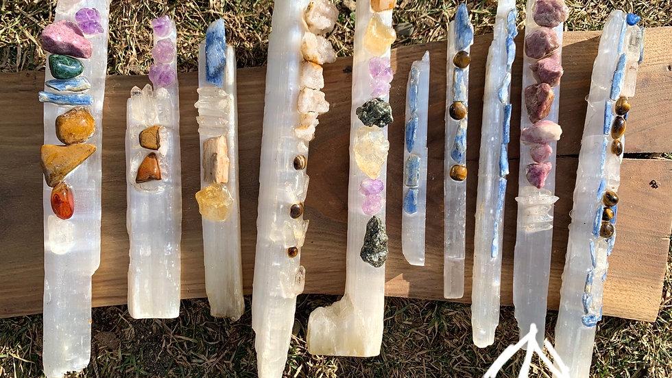 Magic selenite lepidolite wand