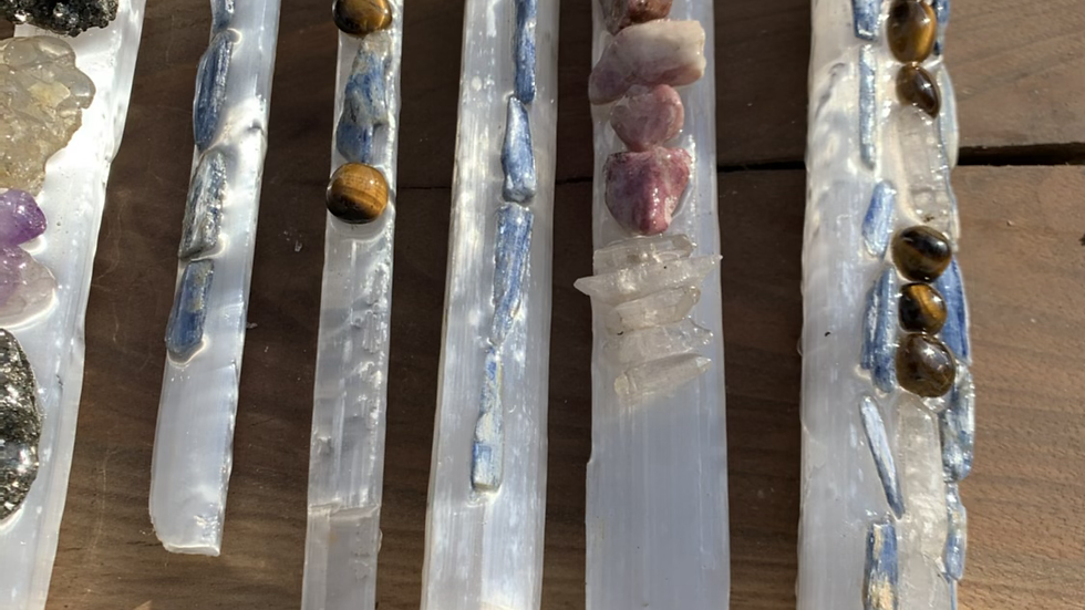 Selenite wand tigers eye kyanite