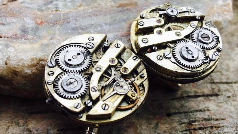 Brass watch cuff links