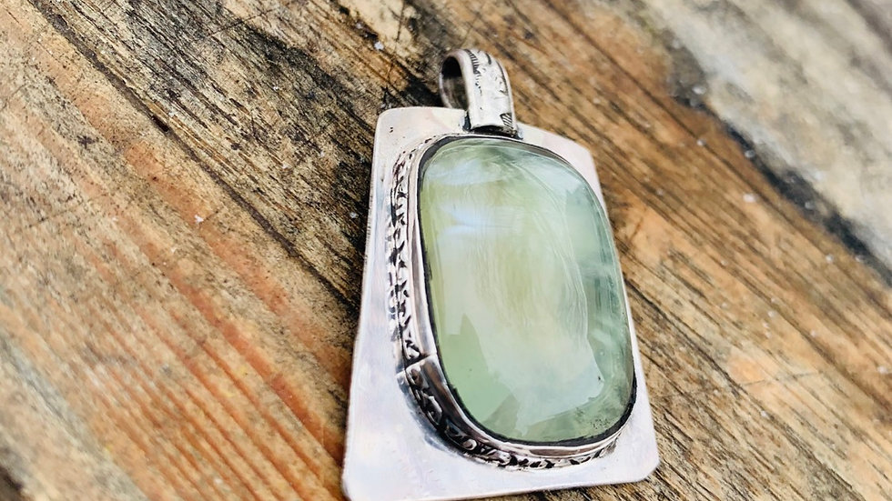 Sterling silver Prehnite pendant