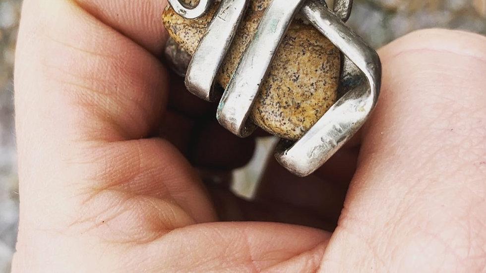 Picture jasper fork ring