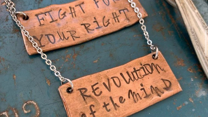 Fight for your  right copper necklace