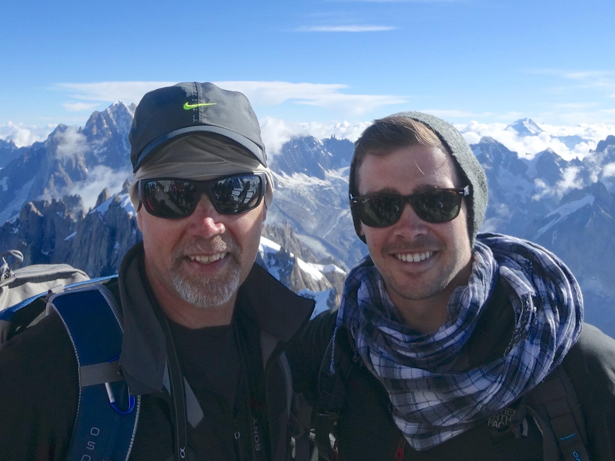 Dave Foster (U Florida) and Sam Boone above Chamonix, Thermo 2014