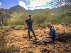 Dr Samuel Boone and Prof Andrew Gleadow having a field lunch in Turkana, Kenya