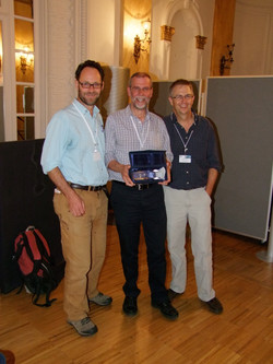 Rod Brown, Andy Gleadow and Paul Fitzgerald with Laslett prize, Thermo2014, Chamonix, France