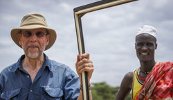 Prof Andrew Gleadow and a Turkana man in northern Kenya