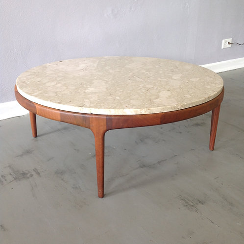 Walnut and Travertine Marble Coffee Table