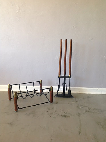 Mid Century Fireplace Tool set and Log Holder by Seymour