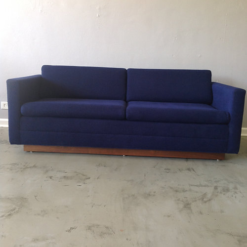 Blue Wool Tuxedo Sofa with Plinth Base. Mid Century Modern Furniture St  Louis Missouri   Confluence