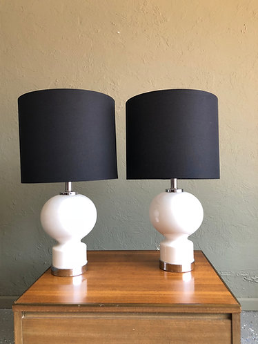 Pair of Mod White Ceramic and Chrome Lamps