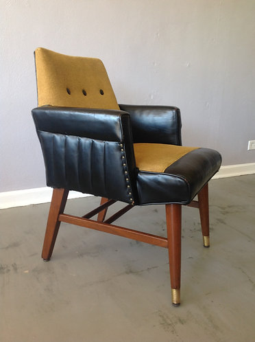 Mid Century Gold and Black Leather Arm Chair
