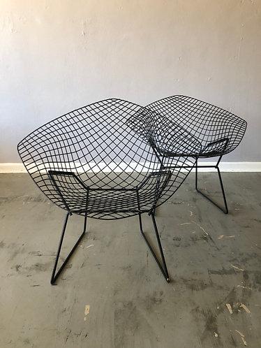 Pair of Black Knoll Bertoia Diamond Chairs