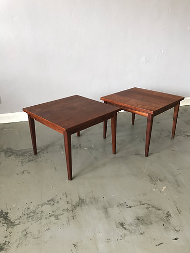 Pair of Mid Century Square Walnut Side Tables