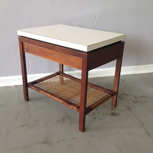 Scandinavian Oiled Walnut Side Table With One Drawer And A White Laminate  Top. There Is A Great Woven Caning Detail On The Bottom Shelf. Unmarked.