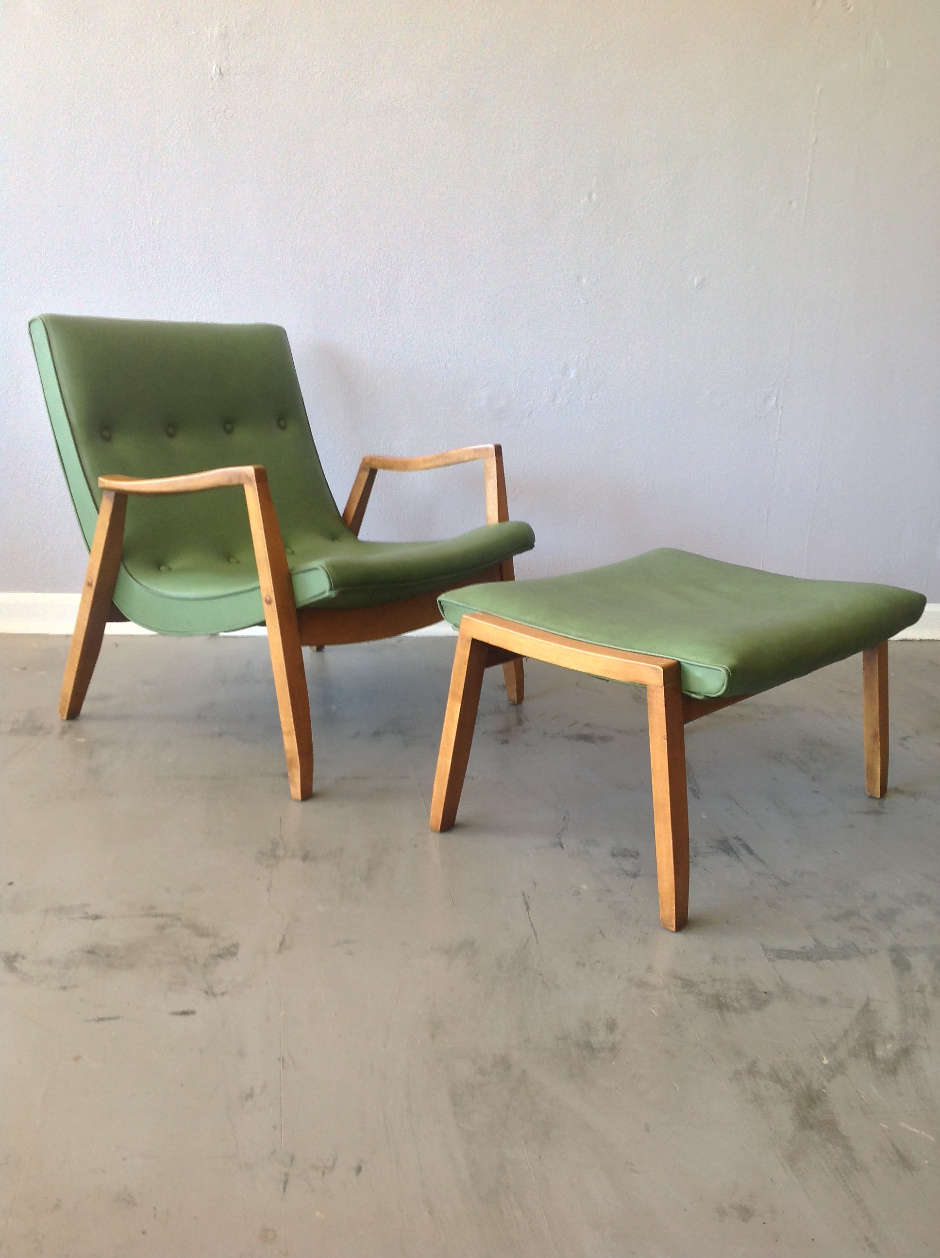 This Low And Loungey Milo Baughman Scoop Chair And Matching Ottoman Retain  Their Original Upholstery And Are In Good Condition.