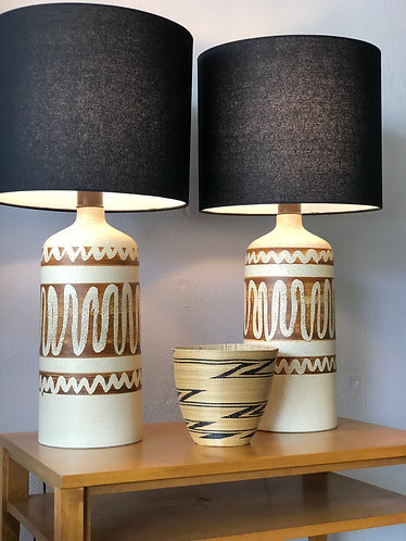 Pair of Large Stoneware Lamps