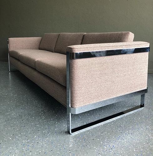 Milo Baughman Style Flat Bar Sofa