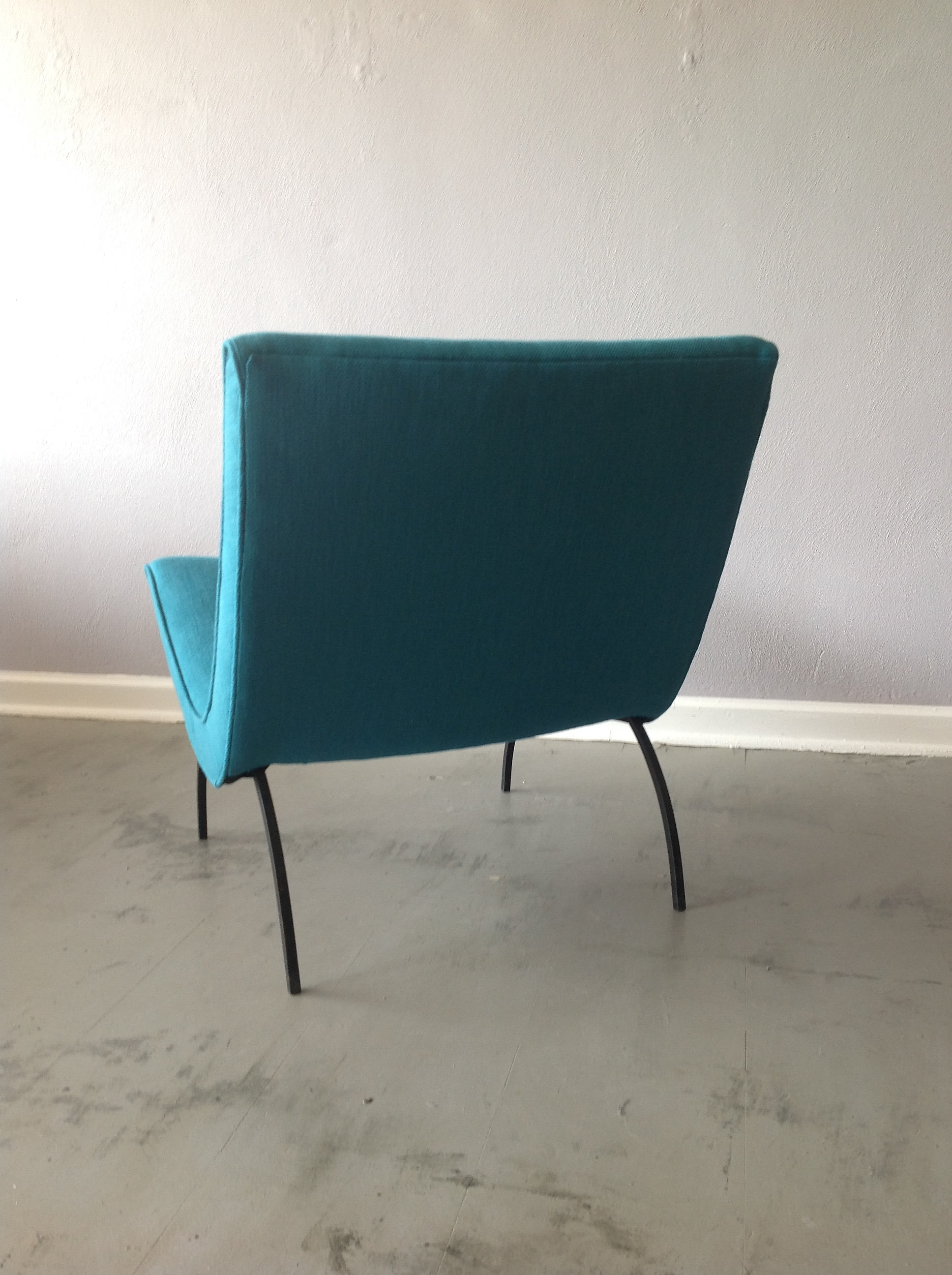 This Great Low Milo Baughman Scoop Chair On Iron Legs, Has The Look. Teal  Upholstery Is New And Really Makes This Chair A Statement Piece.