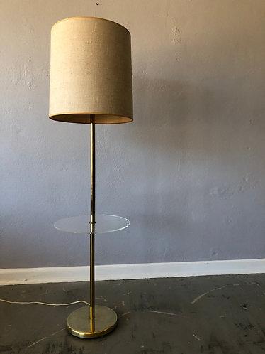 Walter Von Nessen Brass and Lucite Lamp Table