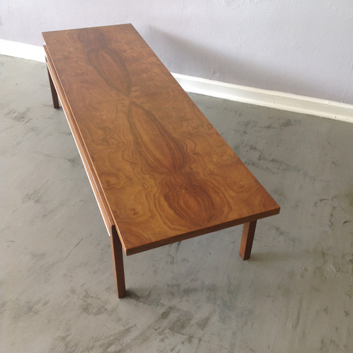 Long And Low Coffee Table With Burl Wood Top. Caning And Brass Colored  Detail On The Side. The Wood Grain On The Top Of This Coffee Table Is  Stunning.