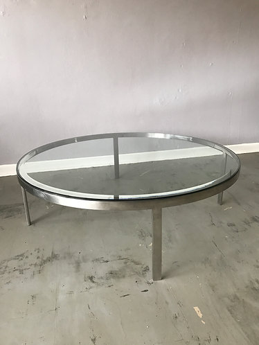 Polished Steel and Glass Coffee Table