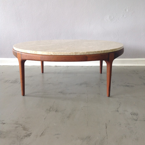 Amazing Travertine Marble Round Coffee Table With A Refinished Walnut Base,  This Heavy Top Sits On 4 Legs And Has A Simple Beauty To It.